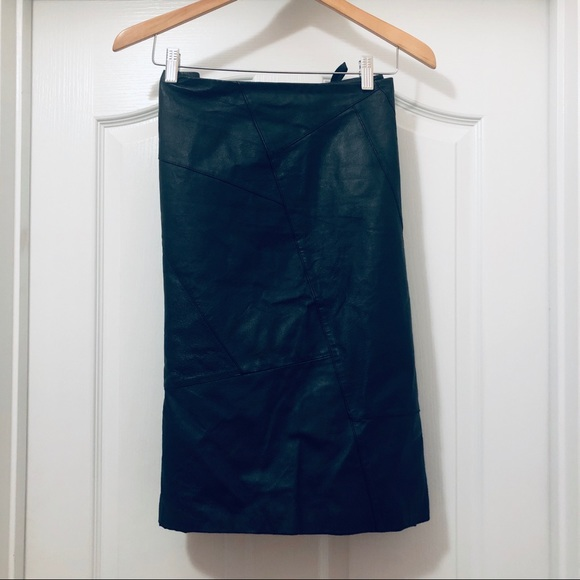 metrostyle Dresses & Skirts - Metrostyle Leather Black A Line Skirt Size 18
